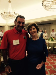 Tom Underdown and former First Lady Laura Bush